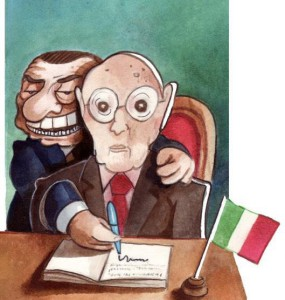 Одна из карикатур, обожаемых злопыхателями, изображает дуэт Наполитано--Берлускони