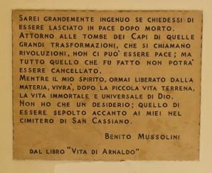 Гробница Бенито Муссолини в Италии